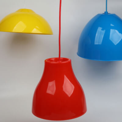 Plastic Lamp shades, red plastic, blue plastic, yellow plastic