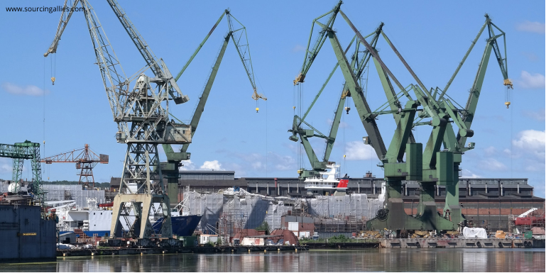 Shipyard where goods is being loaded onto vessels