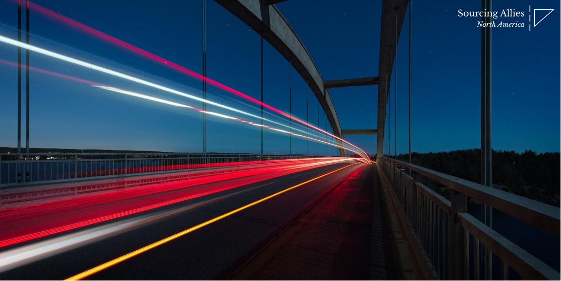 China supply chain- Bridge with lights