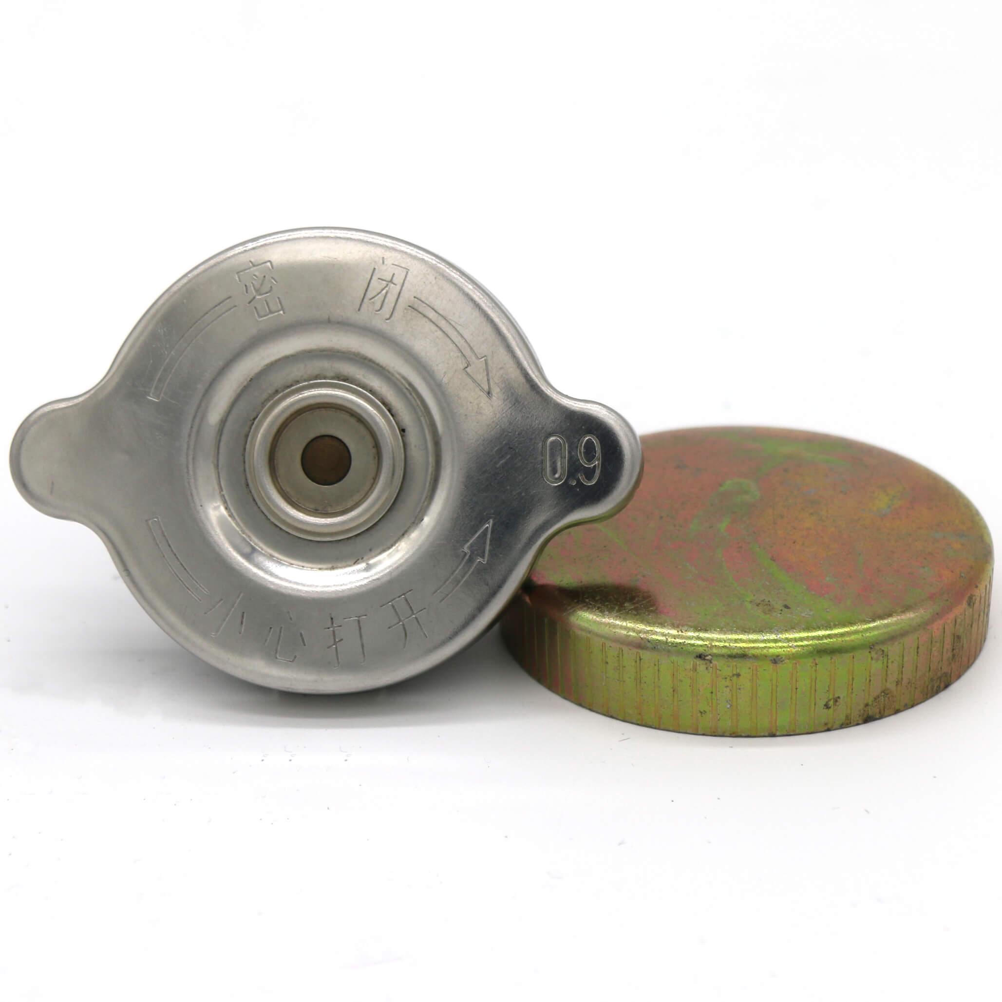 Radiator cap custom design, aluminum, aluminium, steel, brass