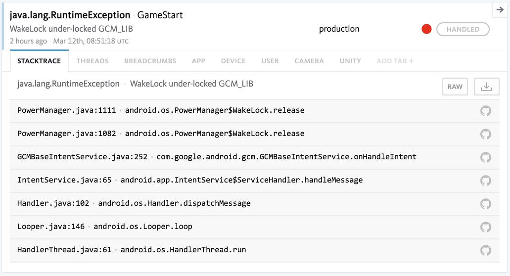 Detect Unity exceptions | Bugsnag Platform
