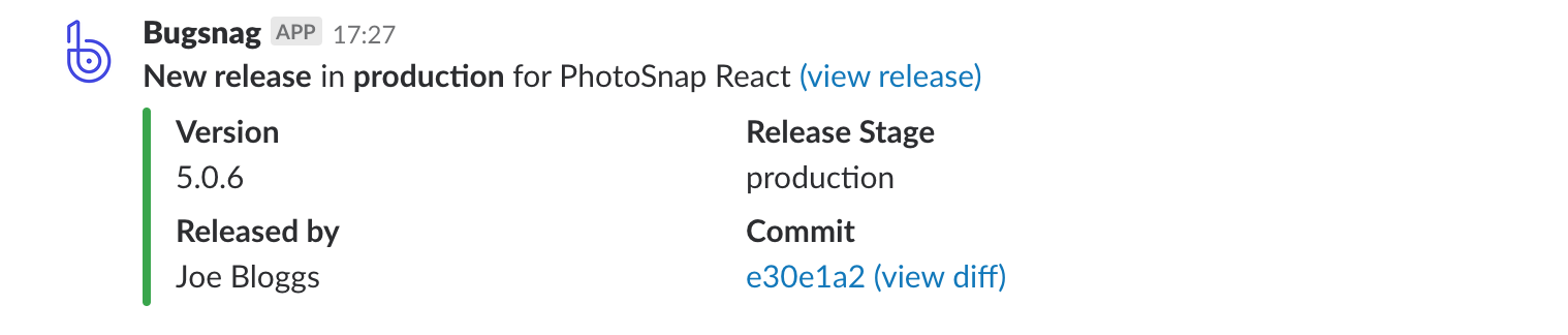 Bugsnag release notification in Slack