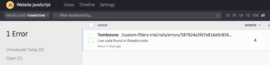 filtering by class Tombstone in Bugsnag