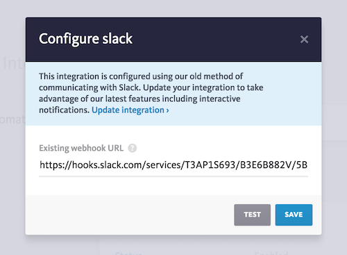 New Slack integration configuration