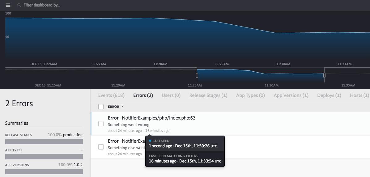 Last seen error tooltip - timeline