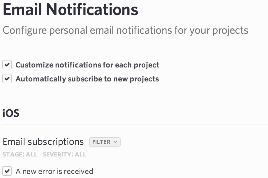 Unsubscribe New Projects