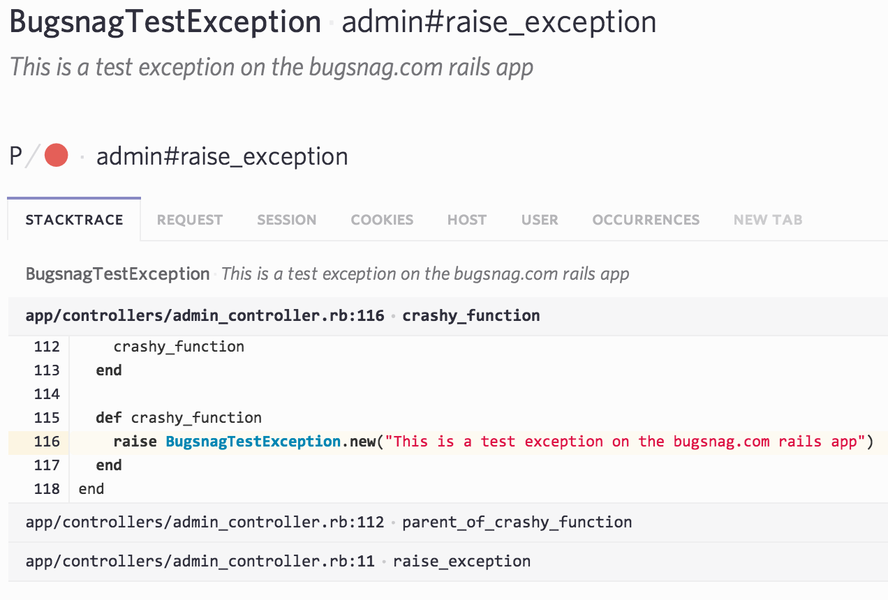 Code in stacktrace