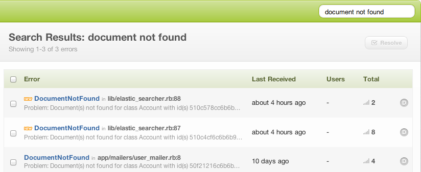 screen shot example of bugsnag search