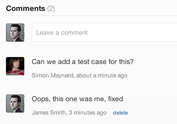 screenshot of bugsnag comment feature