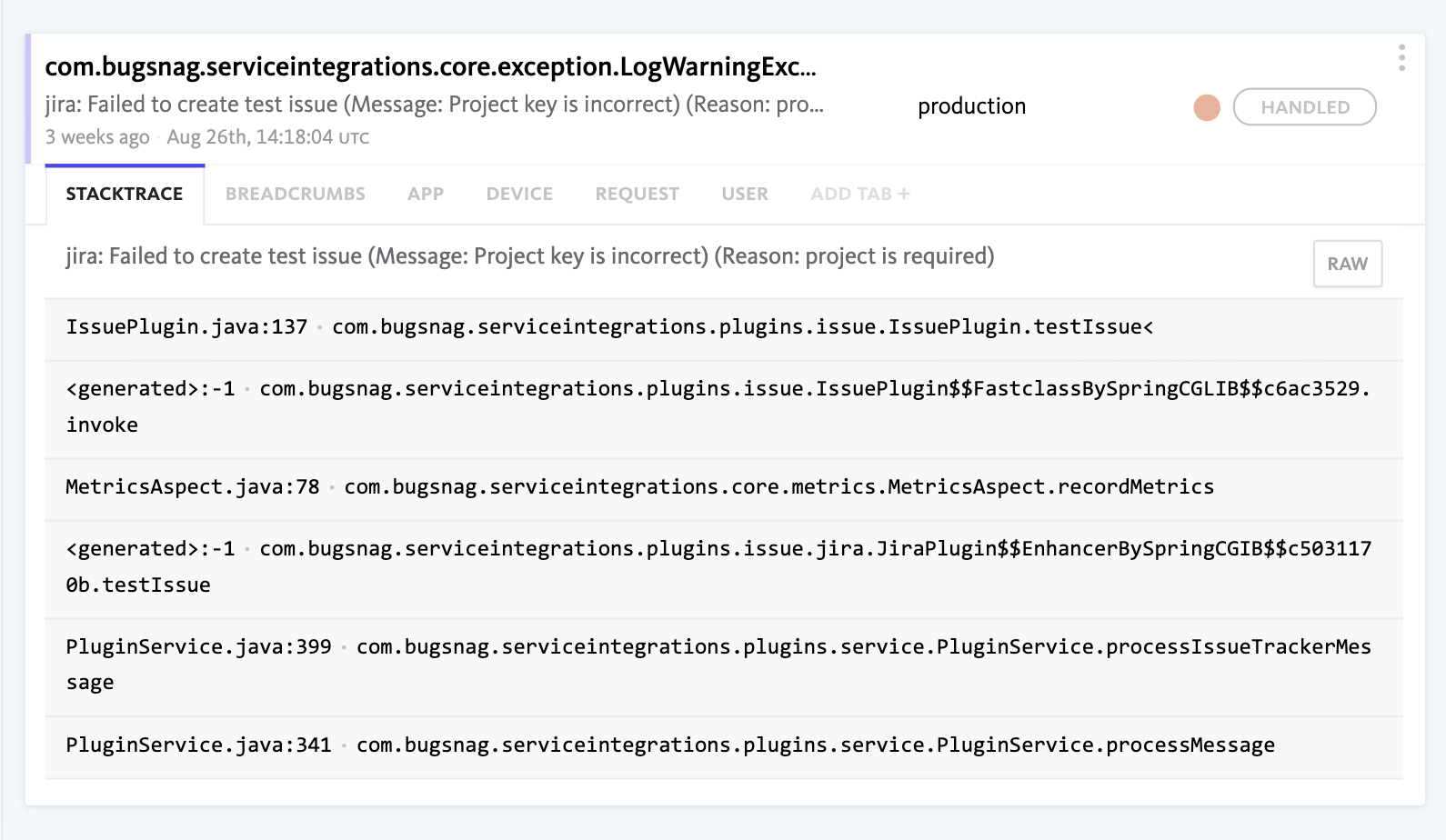Stacktrace of integration error in support