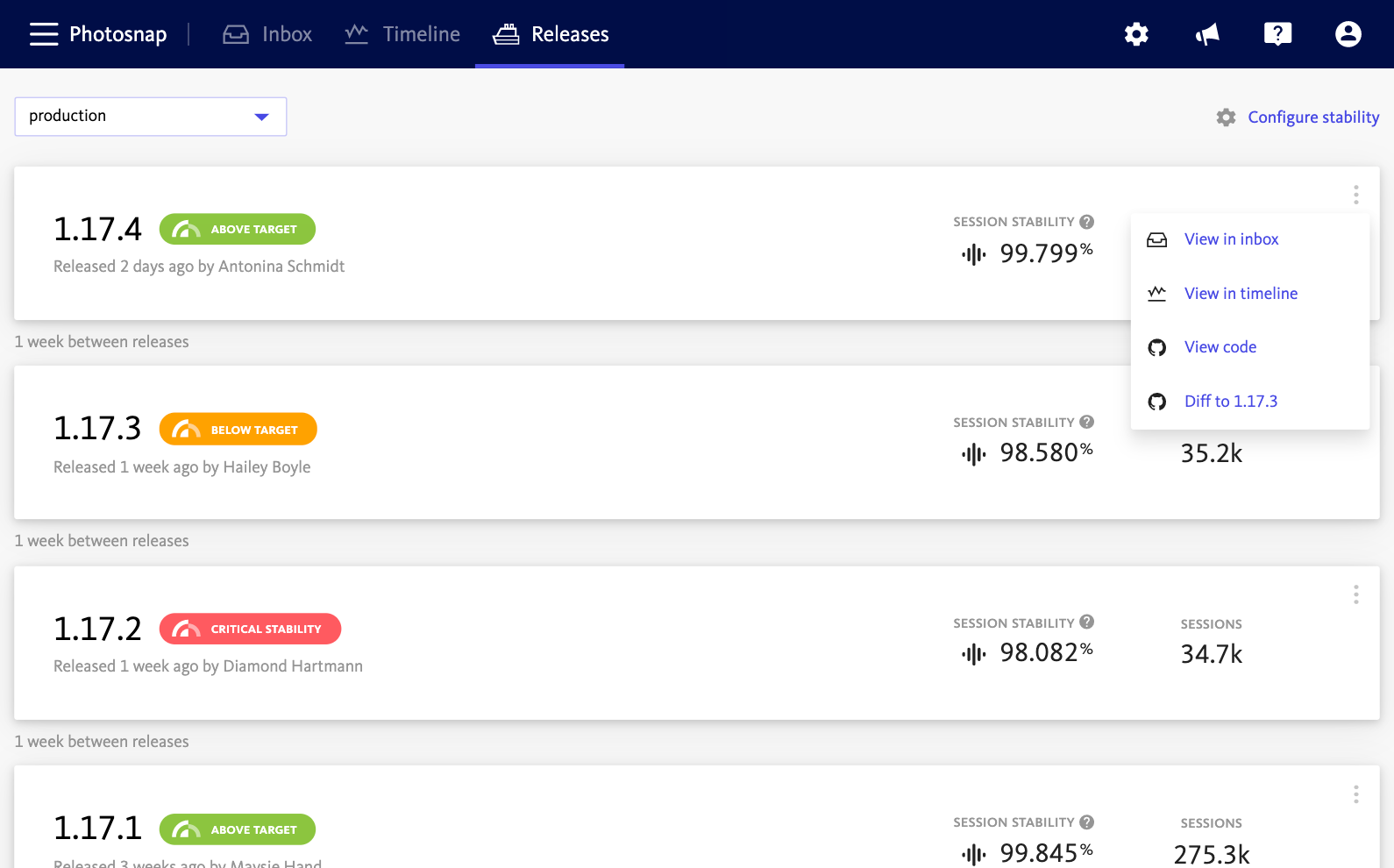 Dashboard showing releases stability.
