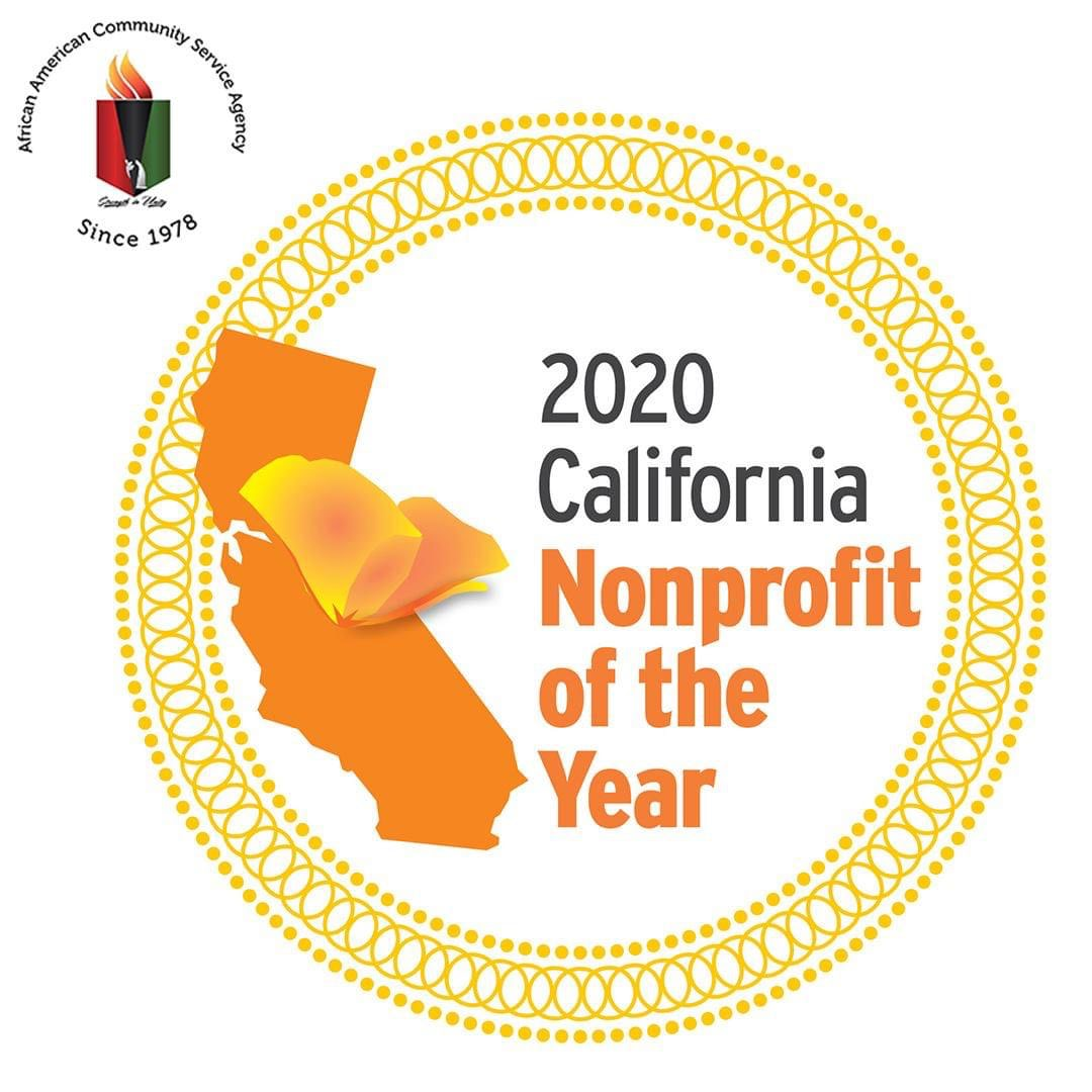 2020 California Nonprofit of the Year award presented to the African American Community Service Agency.