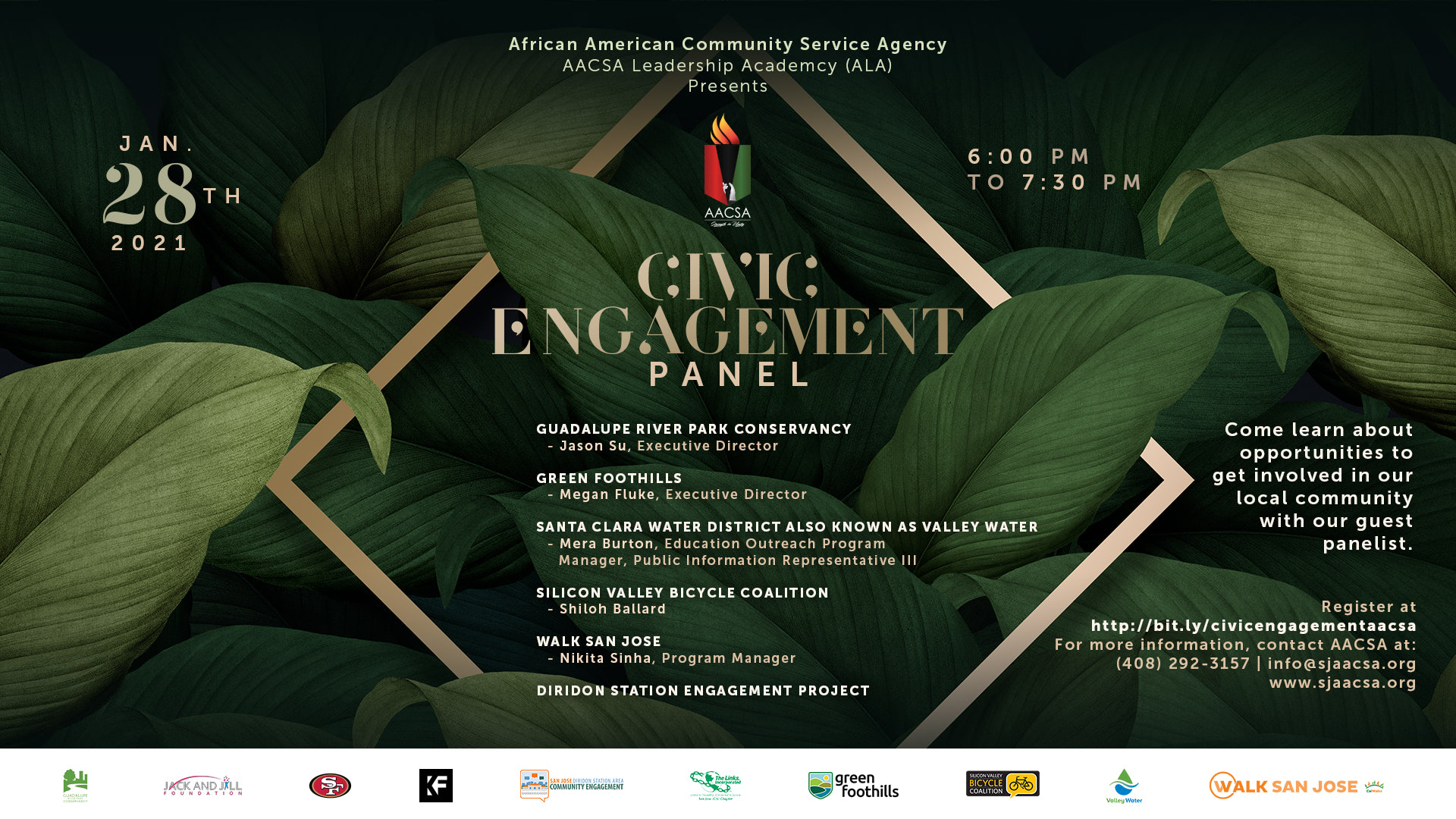 Civic Engagement Panel - Come learn about opportunities to get involved in our local community with our guest panelist.