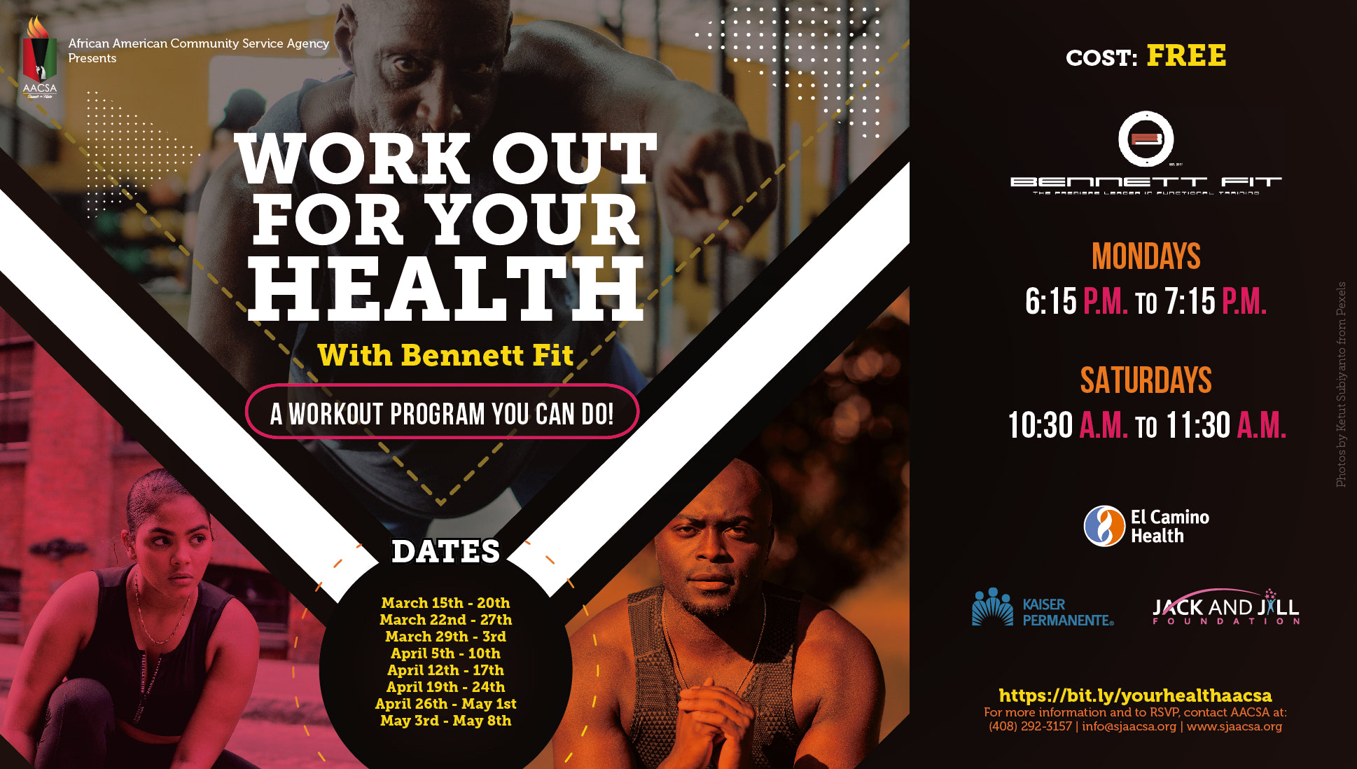 Banner for the AACSA Event: Work Out For Your Health with Bennett Fit. A workout program you can do! Event Dates: Saturday May 1st, 10:30am to 11:30am; Monday May 3rd, 6:15pm to 7:15pm; & Saturday May 8th. 10:30am to 11:30am. Free to attend! To register, visit bit.ly/yourhealthaacsa