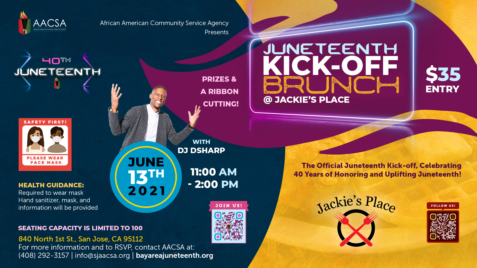 Banner for the 40th Annual Juneteenth In The Park Celebration Week event: The Juneteenth Kick-Off Brunch at Jackie's Place with DJ DSharp. June 13th 11:00am until 2:00pm PST. $35 entry includes meal. Click the banner to see event details & sign-up!
