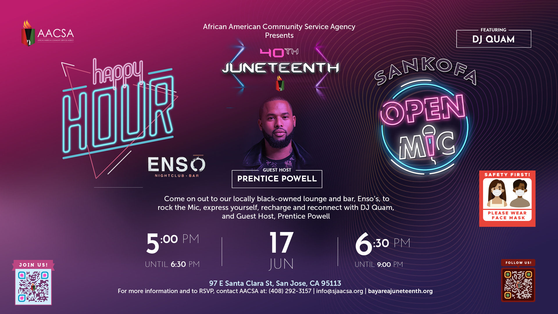 """Banner for the 40th Annual Juneteenth In The Park Celebration Week event: Juneteenth Happy Hour & Sankofa Open Mic. Starting with the """"Happy Hour"""" at 5:00pm until 6:30pm. Followed by the """"Sankofa Open Mic"""" featuring guest host Prentice Powell from 6:30pm until 10:00pm EST. Click the banner to see event details & sign-up!"""
