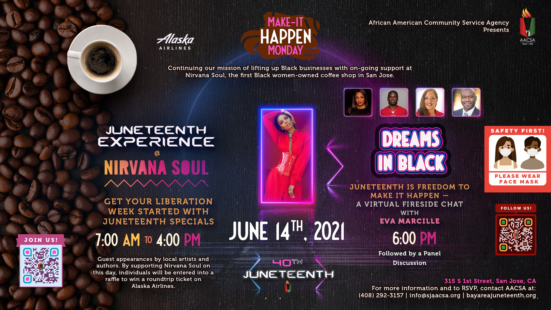"""Banner for the 40th Annual Juneteenth In The Park Celebration Week event: Make It Happen Monday. June 14th. Starting with the Juneteenth Experience at Nirvana Soul from 7:00am until 4:00pm. Followed by """"Dreams in Black"""", a virtual fireside chat with Eva Marcille at 6:00pm, finishing off with a panel discussion. Click the banner to see event details & sign-up!"""