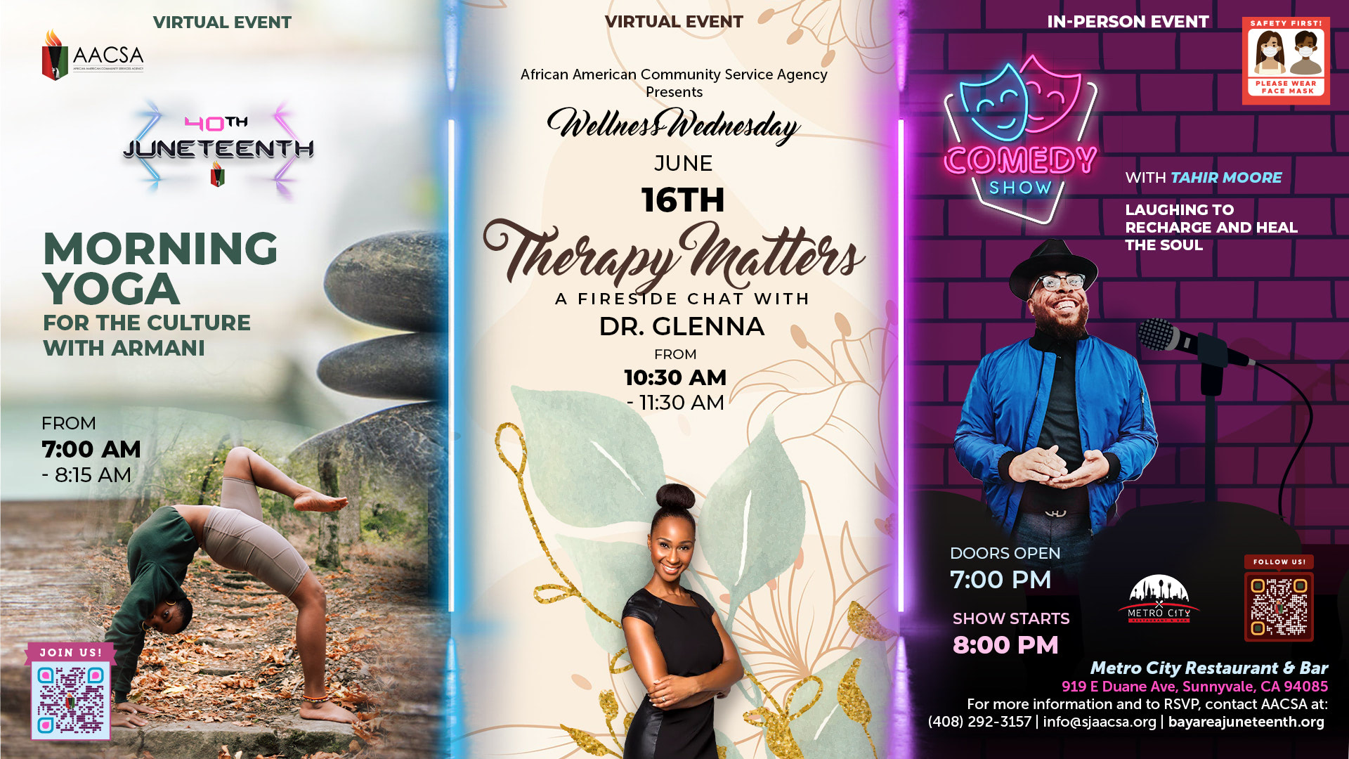 """Banner for the 40th Annual Juneteenth In The Park Celebration Week event: Wellness Wednesday. Starting with the """"Morning Yoga with Armani"""" at 7:00am until 8:15am. Followed by """"Therapy Matters: a Fireside Chat with Dr. Glenna"""" from 10:30am until 11:30am. Finishing off with """"Comedy Show with Tahir Moore: Laughing to Recharge and Heal The Soul"""". Doors open at 7:00pm, show starts at 8:00pm PST. Click the banner to see event details & sign-up!"""