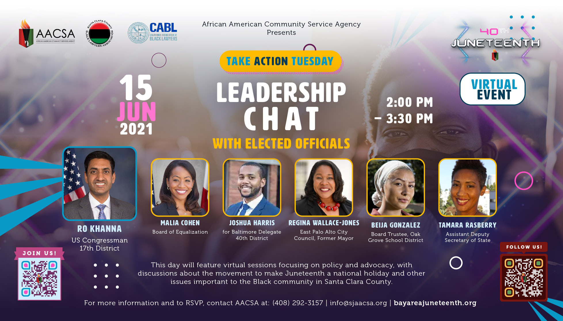 """Banner for the 40th Annual Juneteenth In The Park Celebration Week event: Take Action Tuesday - """"Leadership Chat with Elected Officials"""" from 2:00pm until 3:30pm. Click the banner to see event details & sign-up!"""