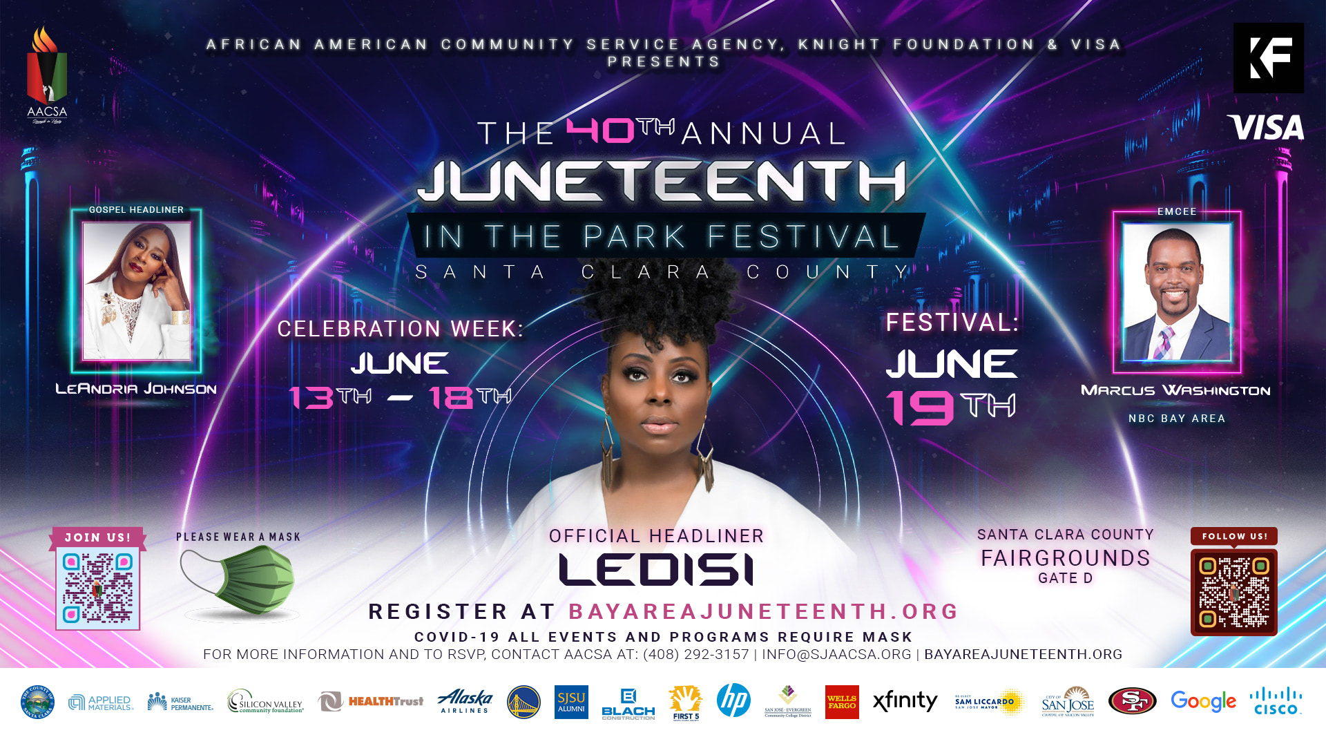 Banner for the 40th Annual Juneteenth In The Park Festival. Featuring Gospel Headliner Le'Andria Johnson & Emcee Marcus Washington. June 19th at the Santa Clara County Fairgrounds - Gate D. 2542 Monterey Rd., San Jose, CA, 95111. Click the banner to see event details & sign-up!