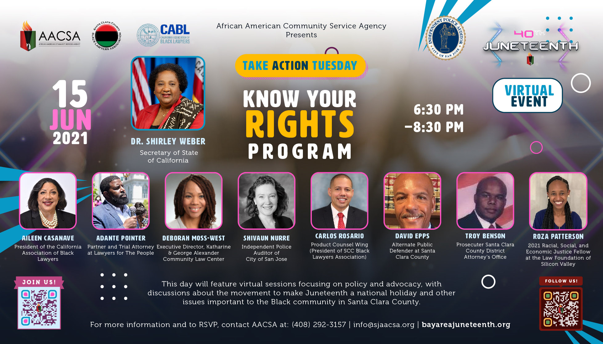 """Banner for the 40th Annual Juneteenth In The Park Celebration Week event: Take Action Tuesday - """"Know Your Rights Program"""" with special guest speakers from 6:30 until 8:30pm PST. Click the banner to see event details & sign-up!"""