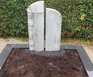 Doppelgrabstein Granit Edelstahl