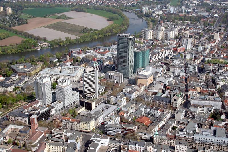Grabsteine in Offenbach Luftansicht
