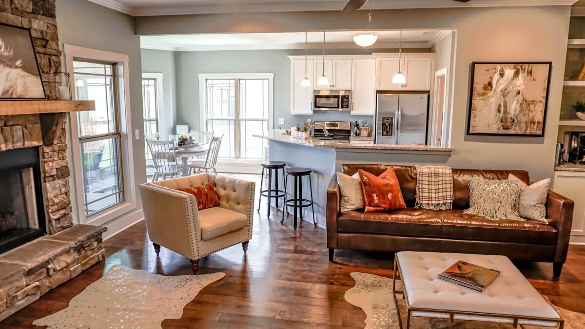 Furnished custom home interior at Twin Creeks Village