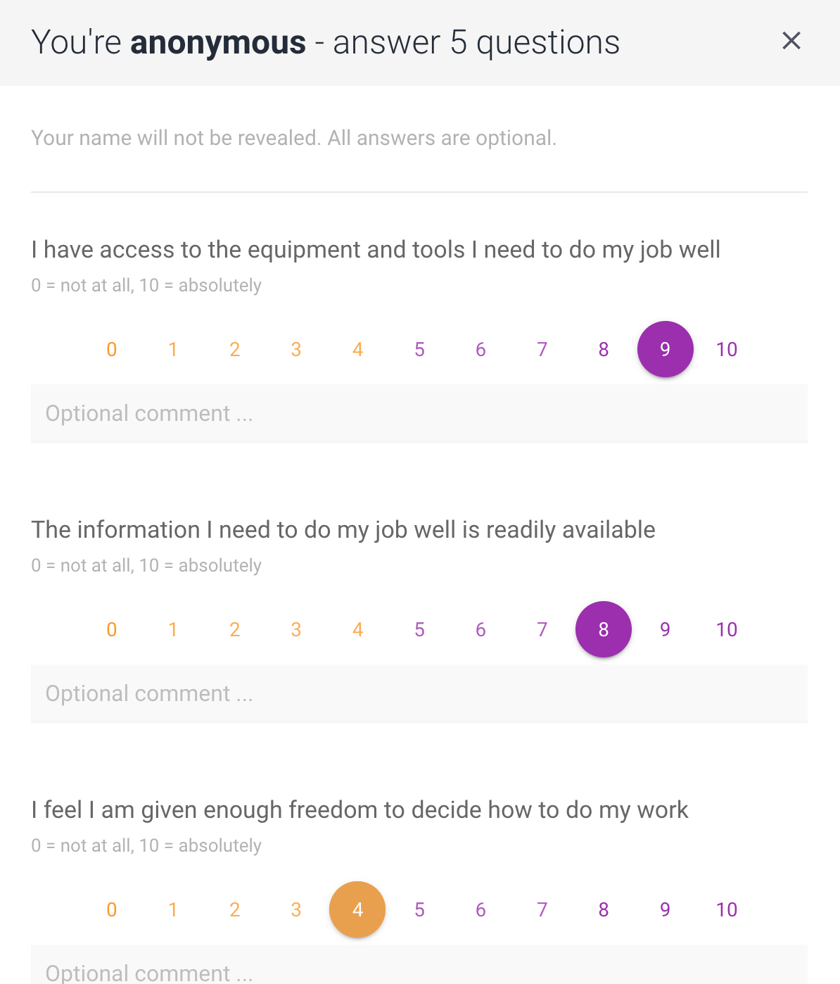 Employee Engagement & Pulse Survey Software screenshot showing user interface of the questionnaire