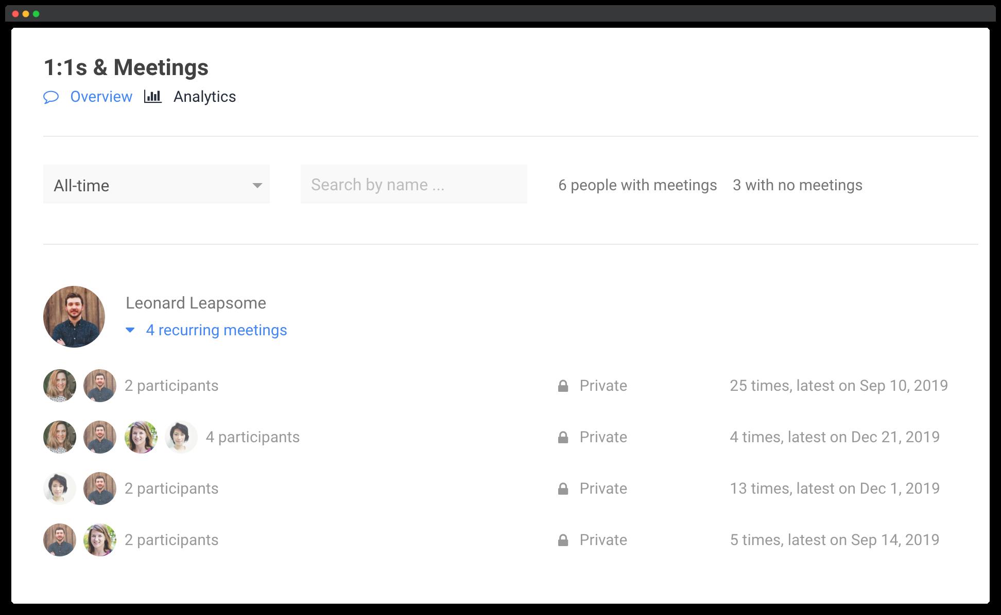 Leapsome meetings analytics screenshot