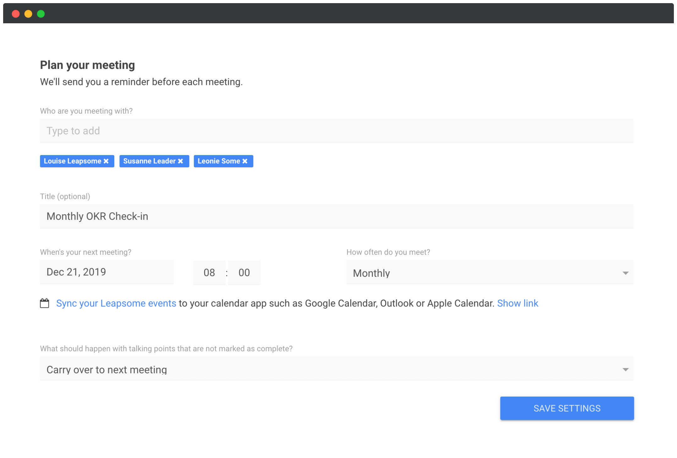 Team meetings scheduling page screenshot