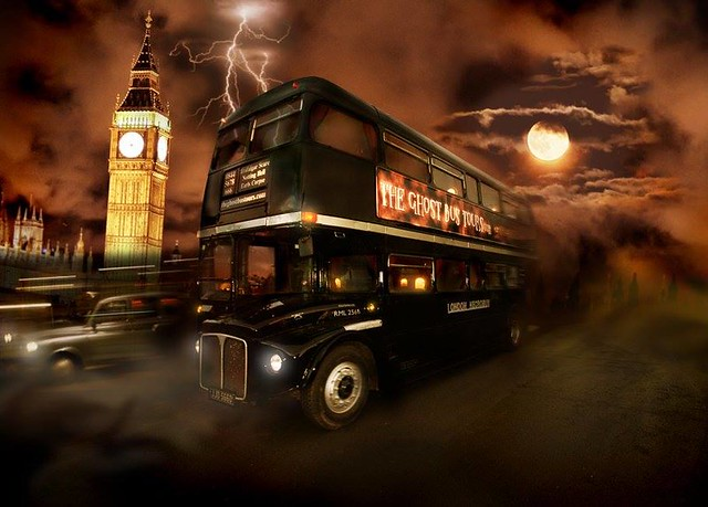 The Ghost Bus Tour passes by a stormy Big Ben
