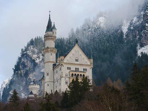 Snow Queen castle in the forest