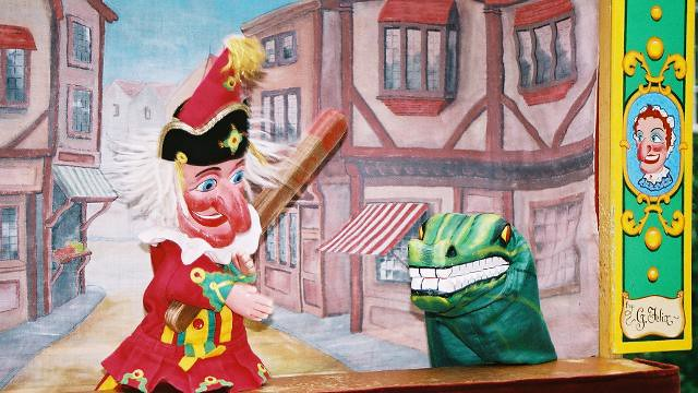 A Punch and Judy puppet show using glove puppets