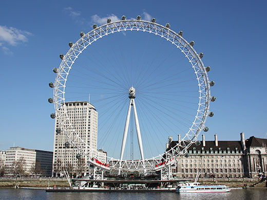 The London Eye in front of a blue sky
