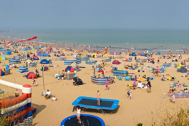 Broadstairs beach filled with people