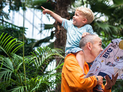 kid on dads shoulders at big barbican adventure