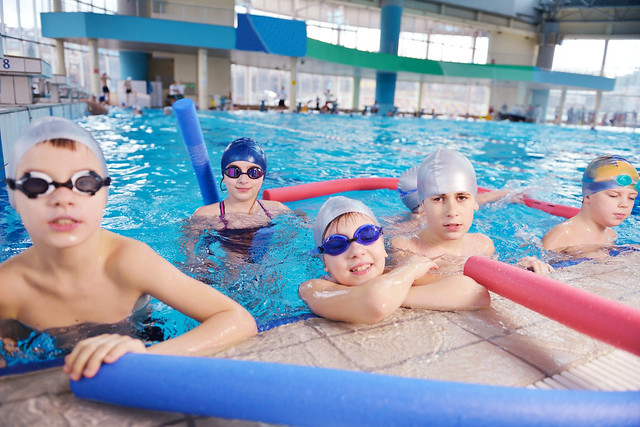 children in the pool at a leisure centre