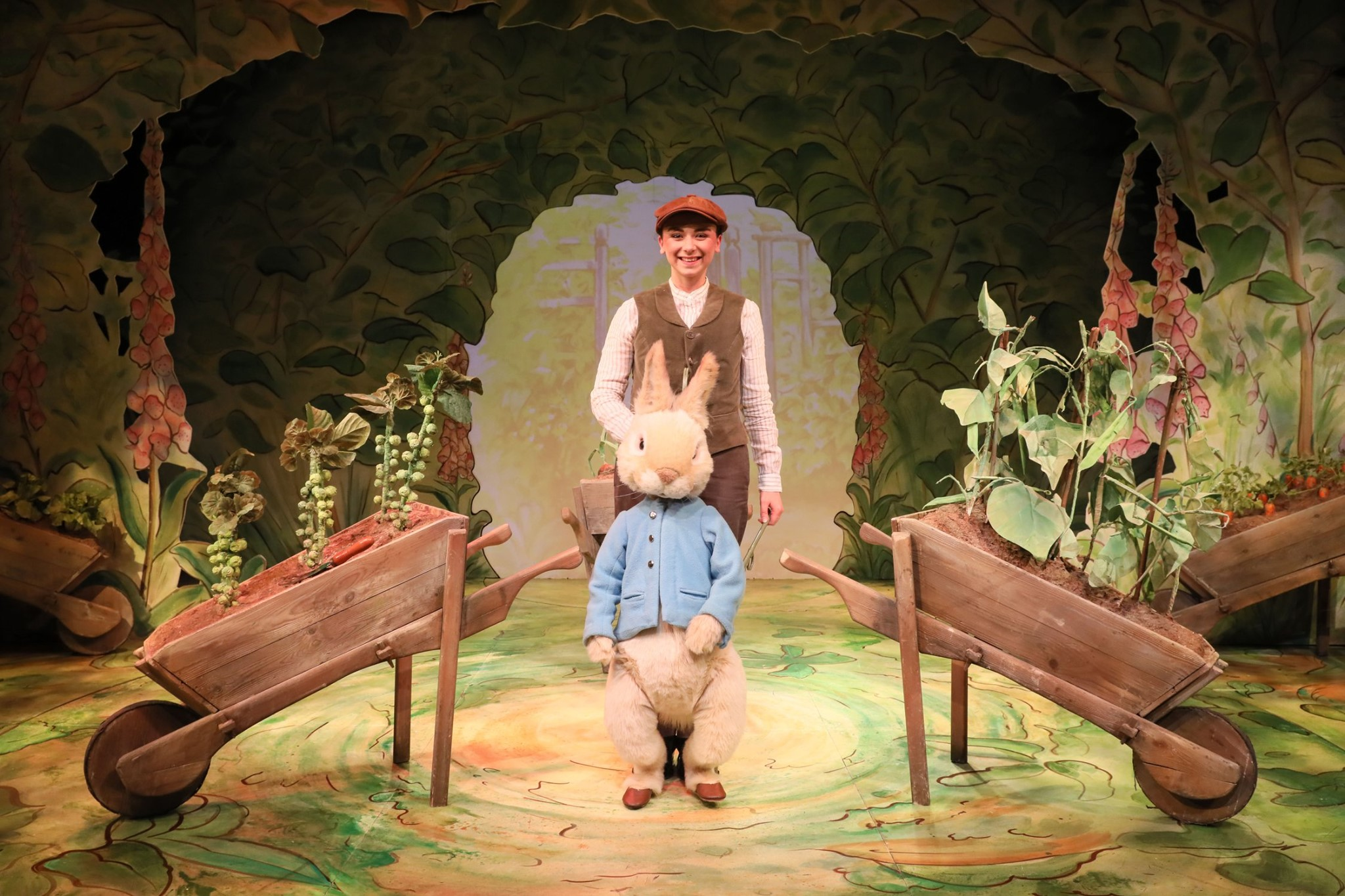 peter rabbit puppet on stage in where is peter rabbit