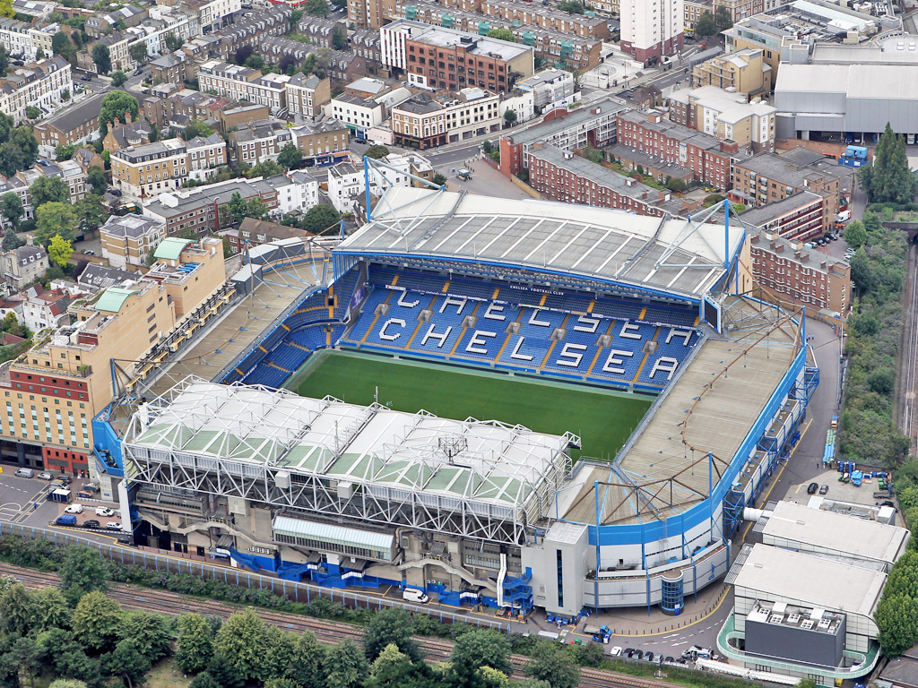 aerial shot of stamford bridge stadium chelsea