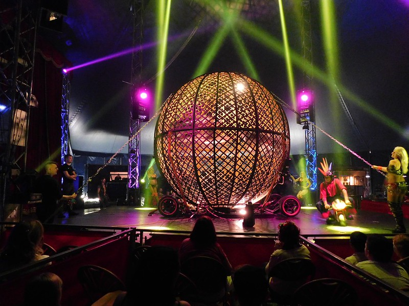 image from audience looking at a show at Planet Circus