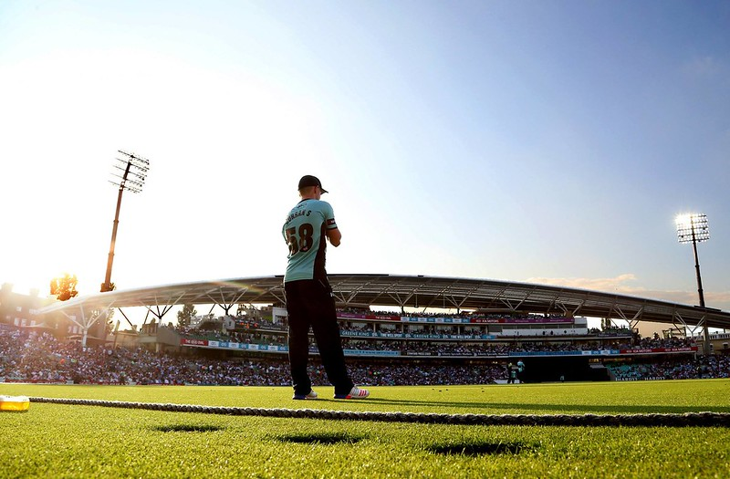 player at the Kia Oval stadium ready to make the first pitch