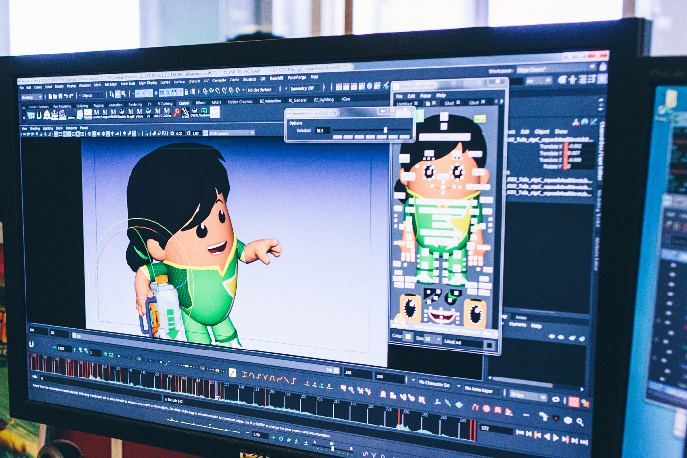 Close up image of work in progress animation on a computer screen