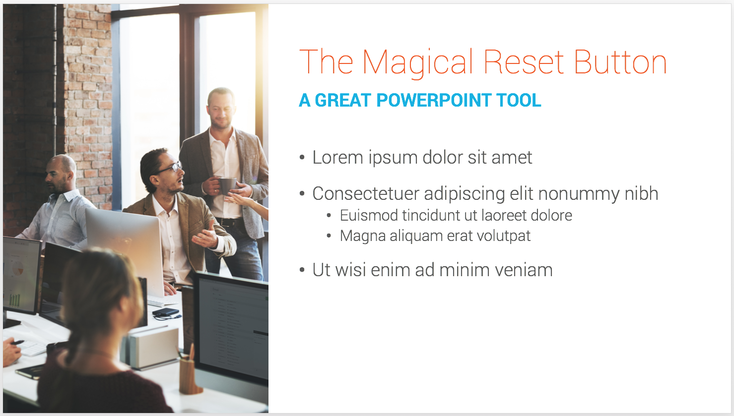 A PowerPoint template slide with content inside