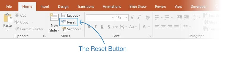 PowerPoint reset button location