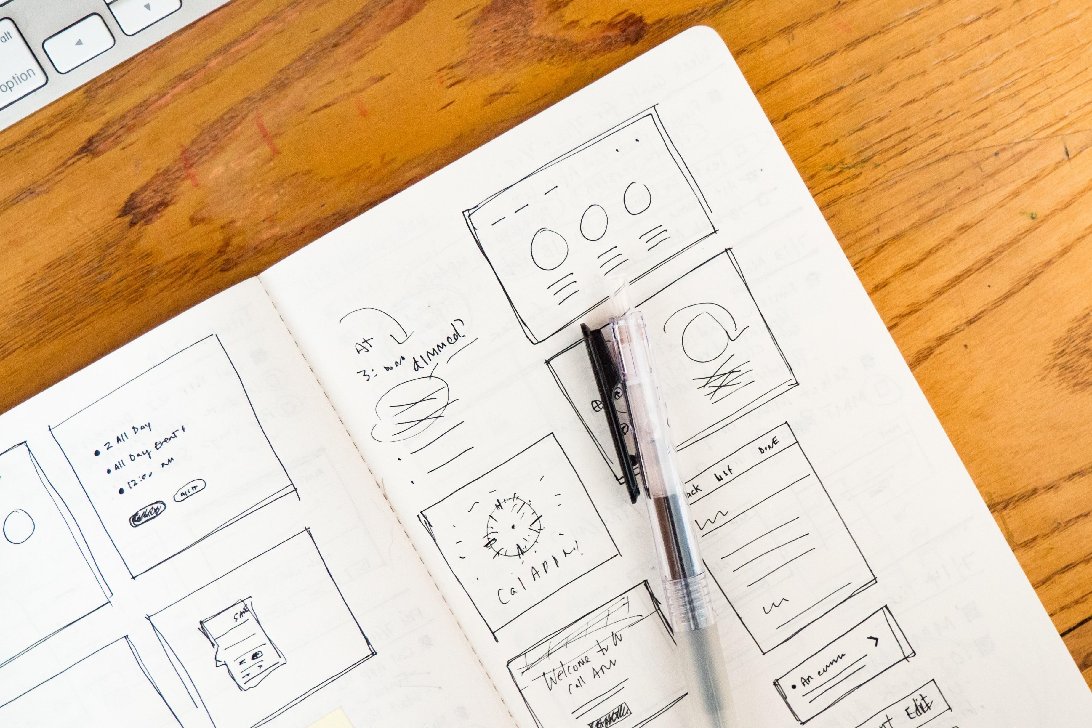 Presentation design draft using bullet points