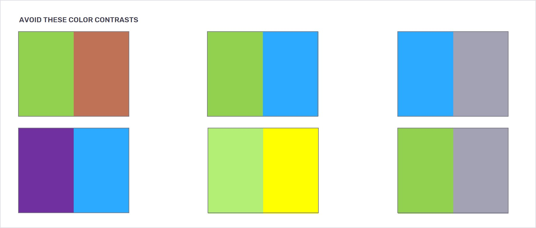 Color contrasts to avoid