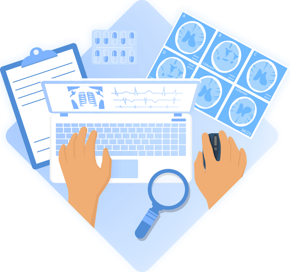 Illustration of hands at desk working on laptop with medical graphics on screen and medical documents on desk.