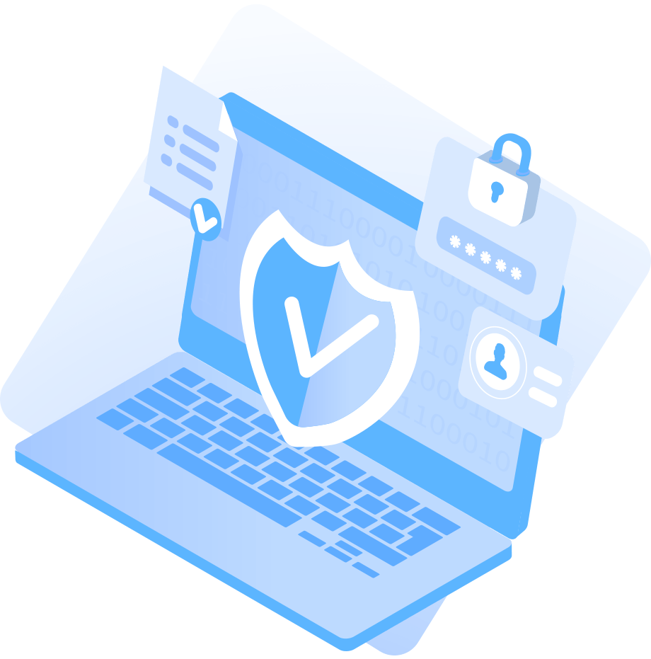 Illustration of laptop with locks and secure icons