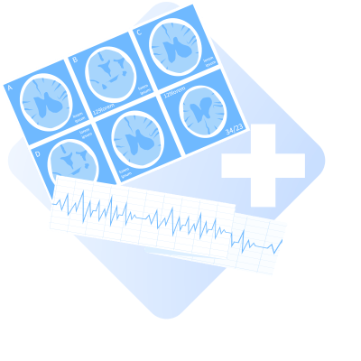 Illustration of medical diagrams and xrays